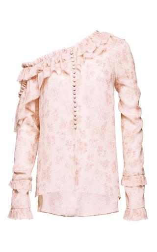 Medium magda butrym pink one shoulder ruffle long sleeve blouse