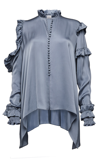 Medium magda butrym grey long sleeve ruffle blouse