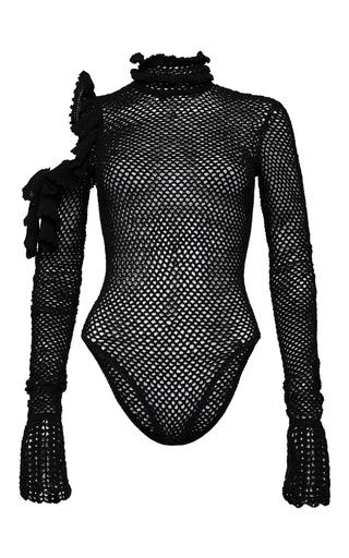 Medium magda butrym black mesh long sleeve bodysuit