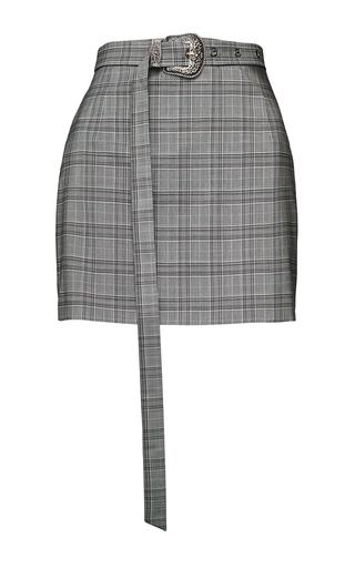 Medium magda butrym grey plaid belted mini skirt