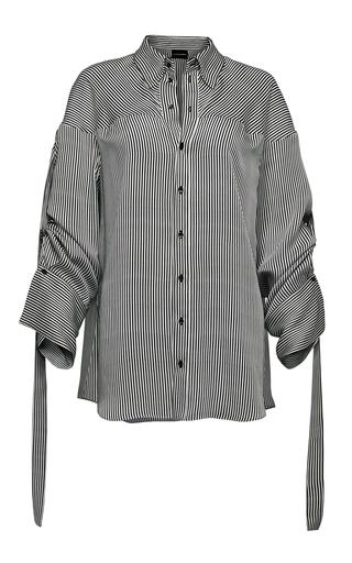 Medium magda butrym white stripe long sleeve shirt