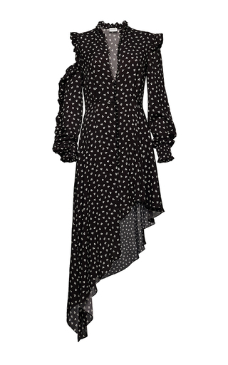 Medium magda butrym black ruffle detail long sleeve asymmetric midi dress 2