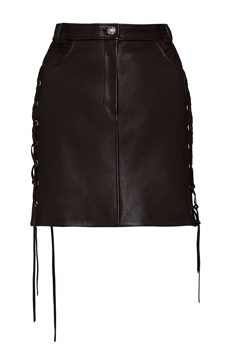 Leather Lace Up Mini Skirt by Magda Butrym | Moda Operandi
