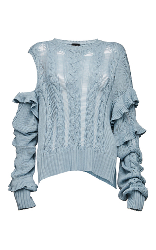 Medium magda butrym blue exposed shoulder ruffled sweater
