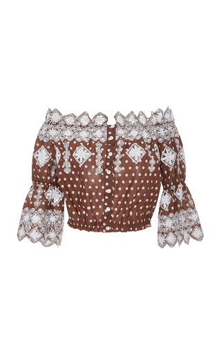 Medium miguelina brown embroidered polka dot cotton cropped top