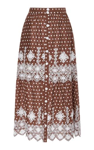 Medium miguelina brown embroidered polka dot cotton skirt