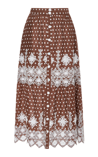 Medium miguelina brown embroidered polka dot cotton skirt