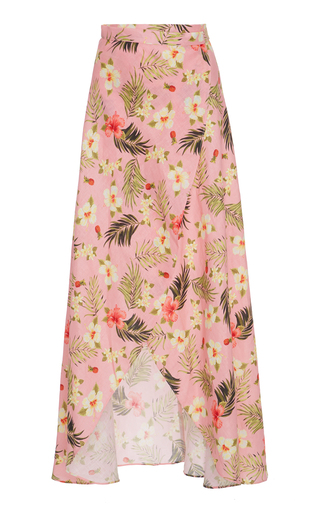 Medium miguelina print hibiscus printed asymmetric wrap skirt