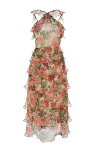 Medium vilshenko print giovanna garden chiffon midi dress