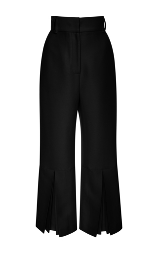 Medium vilshenko black fedora satin pleated trousers