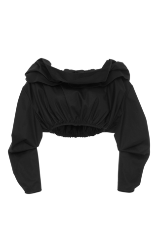 Medium ellery black third degree off the shoulder cropped blouse