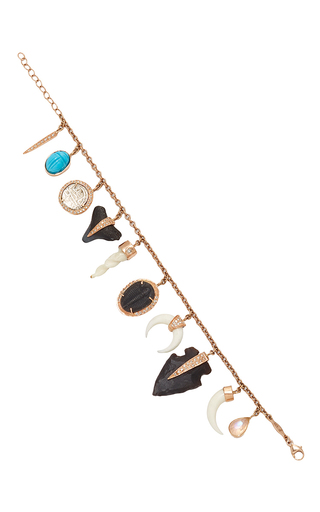 Medium jacquie aiche rose gold wild child fossil and bone charm bracelet