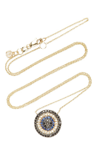 Medium sydney evan blue blue sapphire and black diamond circle necklace