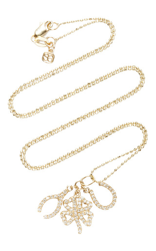 Medium sydney evan gold micro pave lucky trio set with clover shamrock and horse shoe