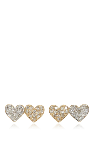 Medium sydney evan gold small double heart studs