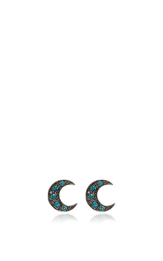 Medium sydney evan blue crescent moon studs