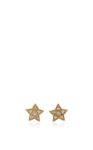 Medium sydney evan gold pave star stud earrings