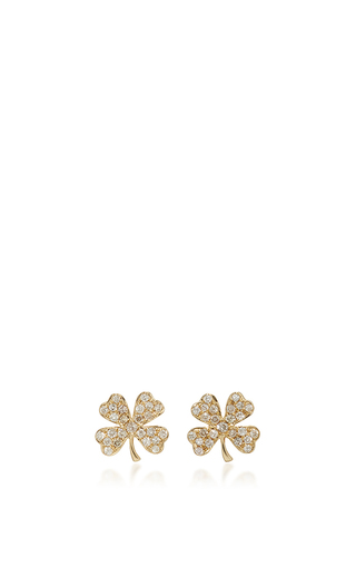 Medium sydney evan gold clover studs