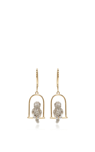 Medium sydney evan gold bird on perch earrings