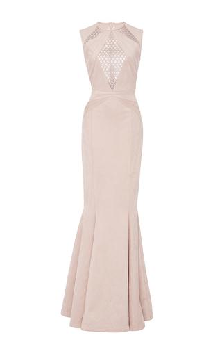 Medium oday shakar pink suede laser cut trumpet gown
