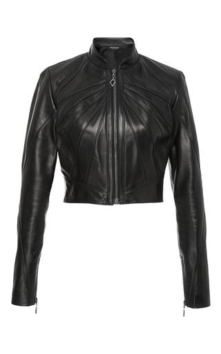 Medium oday shakar black crop seamed leather jacket