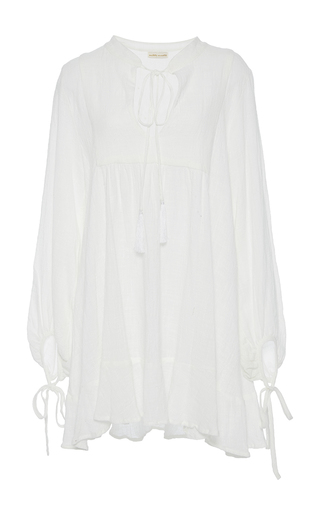 Medium natalie martin white sasha full sleeve gauze dress