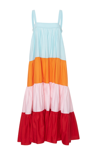 Medium mds stripes multi wyatt colorblock tiered maxi dress