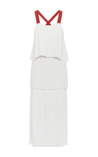 Medium orley white white pleated dress with contrasting straps
