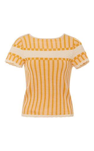 Medium orley orange ribbed short sleeve top