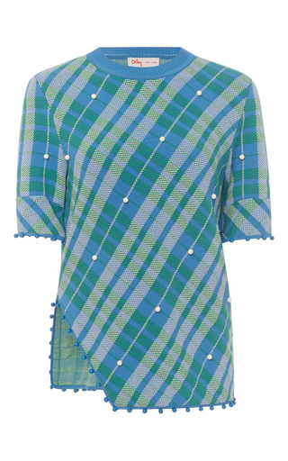 Medium orley blue swarovski asymmetric plaid tee