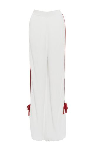 Medium orley white tuxedo stripe pleated pant with bows
