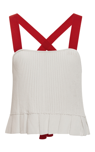 Medium orley white finely pleated cropped tank