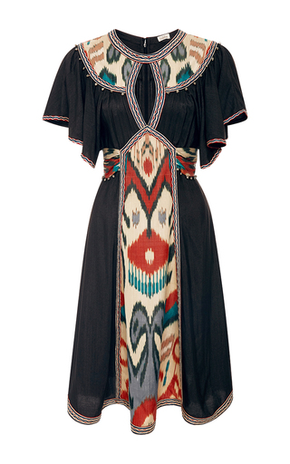 Medium talitha black ikat short keyhole dress