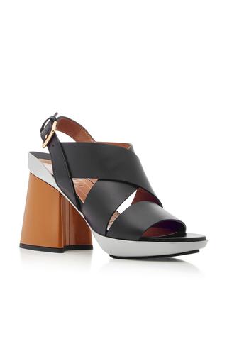 Medium marni black color block leather sandals
