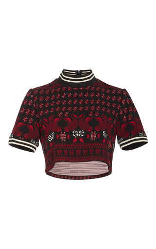 Medium anna sui red swan knit jacquard crop top