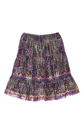 Medium anna sui purple garden border metallic stripe skirt