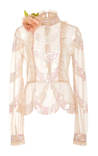 Medium anna sui pink victorian sequin embroidered mesh top