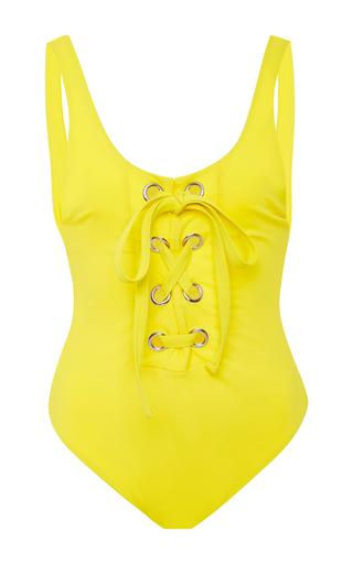 Medium mara hoffman yellow yellow lace up maillot