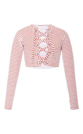 Medium mara hoffman stripe jacquard stripe terry lace up rashguard