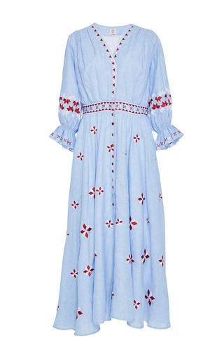 Medium gul hurgel blue flounced cuff embroidered midi dress 2