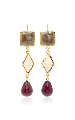 Medium loulou de la falaise black 3 color diamond and drop earrings