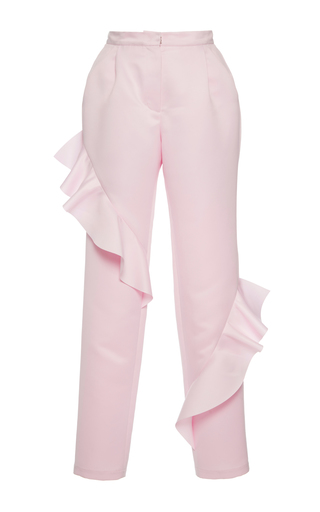 Medium paskal pink frill detail cropped trousers