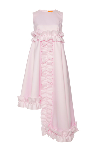 Medium paskal pink asymmetric sleeveless frill dress