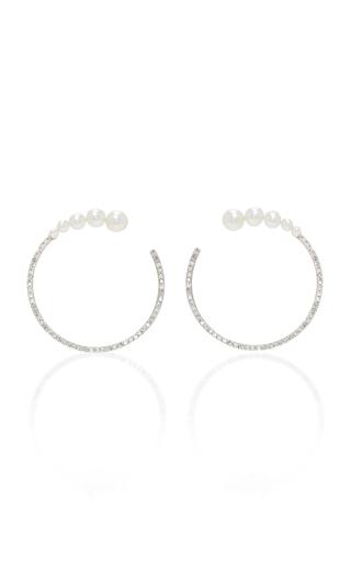 Medium mateo white 14k gold pearl and diamond earrings