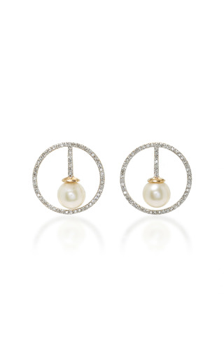 Medium mateo white diamond and pearl earrings