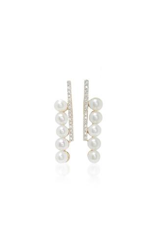 Medium mateo white 14k gold diamond and pearl earrings