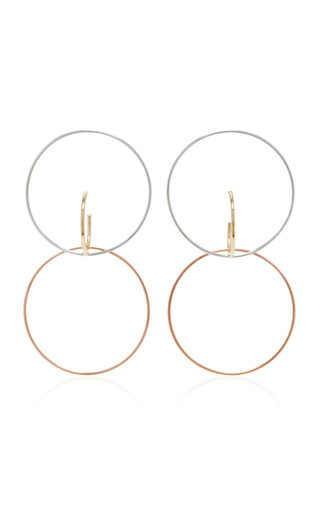 Medium charlotte chesnais metallic galilea gold dipped and silver hoop earrings
