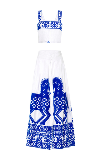 Medium yuliya magdych white herd top and skirt set