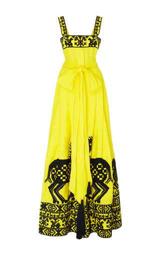 Medium yuliya magdych yellow herd linen dress