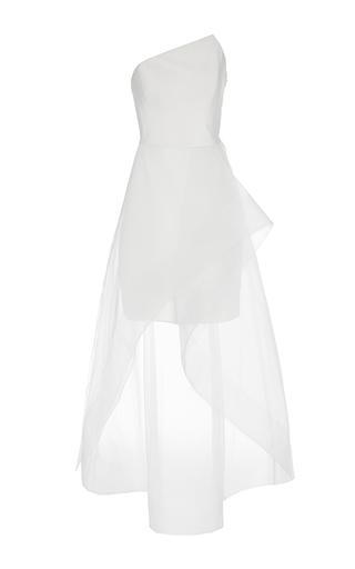 Medium romona keveza white asymmetrical neck cocktail dress 3